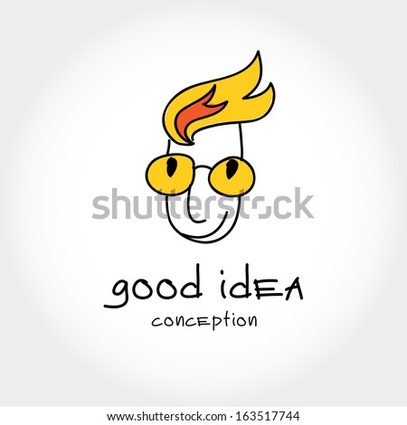 Guy with flaming head symbolizing creative thinking with hot ideas - stock vector