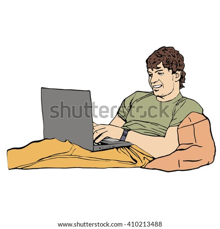 Guy with laptop. Vector illustration. - stock vector