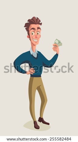 guy with money - stock vector
