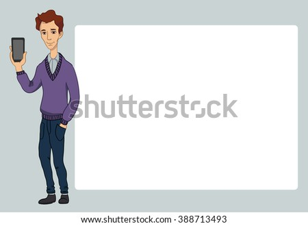 Guy with smartphone screen on white background. Vector illustration character with bubble talk.  Flat design concepts for web banners, web sites, printed materials, infographics, startup, marketing.