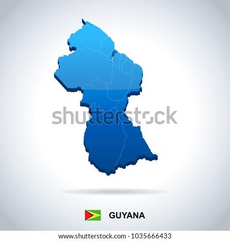 Guyana Map Flag High Detailed Vector Stock Vector 1035666433