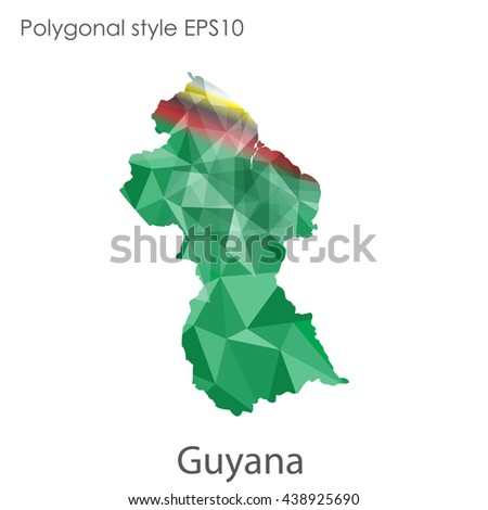 Guyana map in geometric polygonal style.Abstract gems triangle,modern design background.Vector illustration EPS10