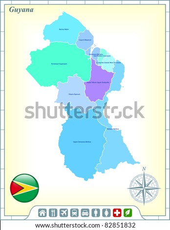Guyana Map with Flag Buttons and Assistance & Activates Icons Original Illustration - stock vector