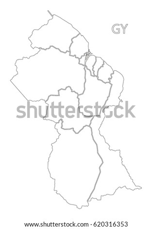 Guyana outline silhouette map illustration regions stock vector guyana outline silhouette map illustration with regions sciox Images