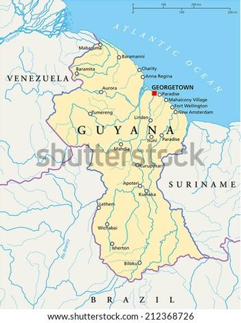 Guyana Political Map Capital Georgetown National Stock Vector 2018