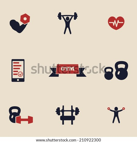 gym and fitness icons - stock vector