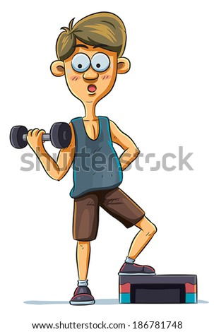 Gym Boy - stock vector