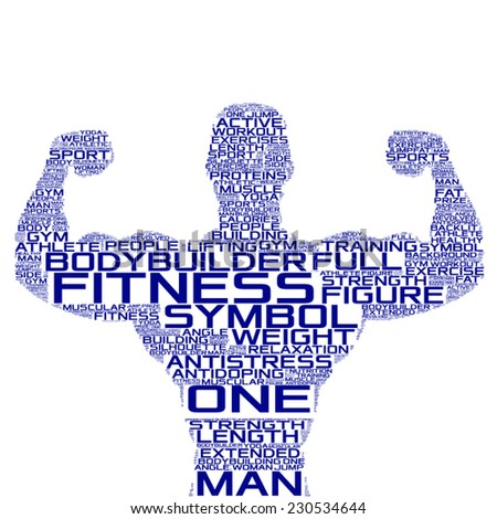 gym concept vector silhouette tag cloud - stock vector