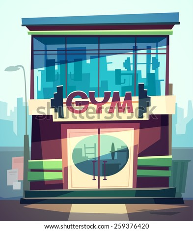 Gym facade. Vector illustration. - stock vector