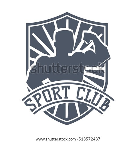 Gym fitness emblem, label, badge logo and design element. Gym fitness logo muscle body weight bodybuilding. Strong people club vector gym fitness logo icon badge