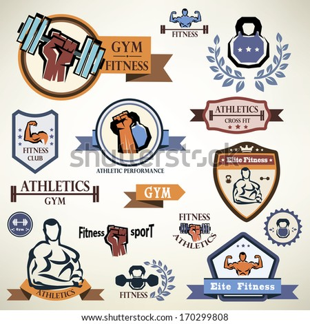 gym, fitness emblems collection - stock vector