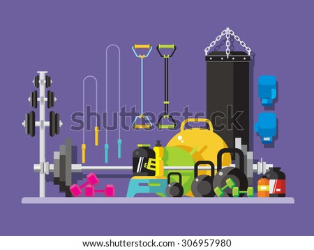 Gym flat style. Kettlebell and punching, bag, fingerboard and bodybuilding, vector illustration - stock vector