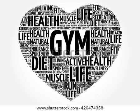 GYM heart word cloud, fitness, sport, health concept - stock vector