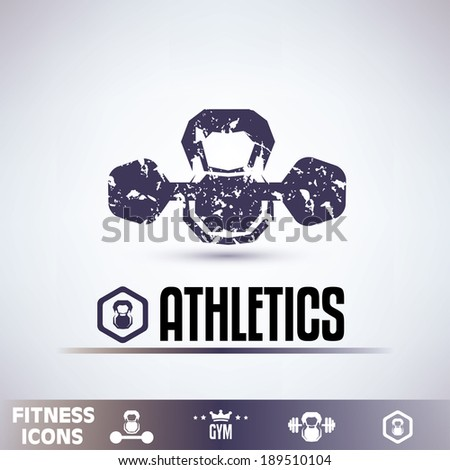 gym icons, fitness grunge emblems collection - stock vector