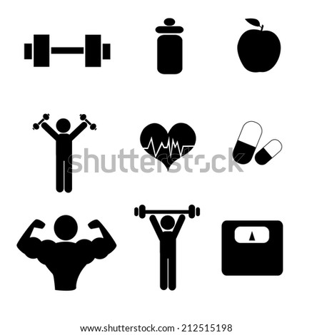 gym icons over white background vector illustration  - stock vector
