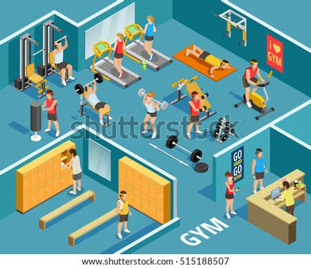 Gym isometric template with people equipment and various types of physical exercises  vector illustration