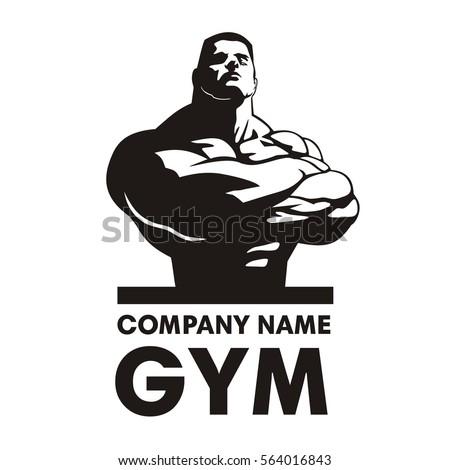 Gym Logo Vector Bodybuilder Design Crossing His Hands Image