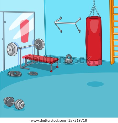 Gym Room with Trainers. Vector Cartoon Background. EPS 10. - stock vector
