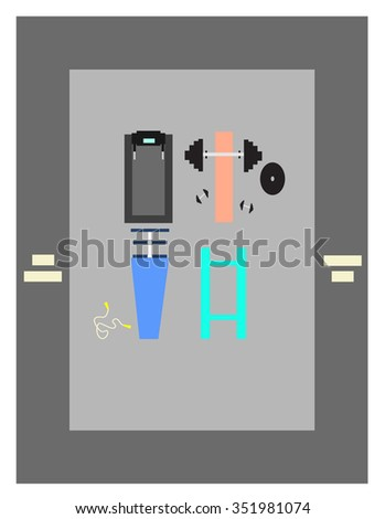 Gym Running track Barbell Parallel bars Abs trainer Skipping Rope - stock vector
