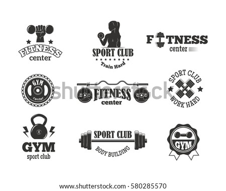second set monochrome fitness emblems labels stock vector 256865008 shutterstock. Black Bedroom Furniture Sets. Home Design Ideas