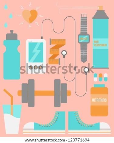 Gym Stuff - stock vector