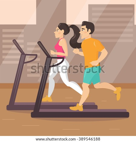 Gym, treadmill. Man and a woman at the gym. Treadmill. Vector isolated illustration. Cartoon character.  Sports, exercises - stock vector