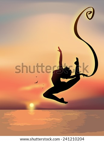 Gymnast exercising near the sea - stock vector