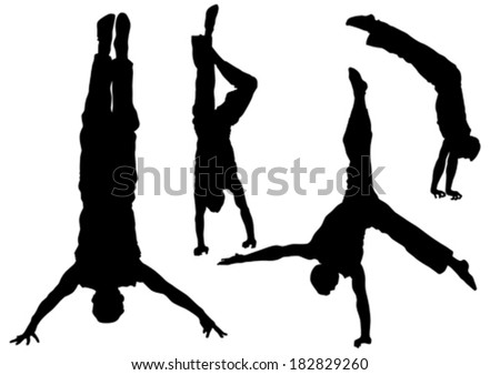 Gymnast man in a jump on white background - stock vector