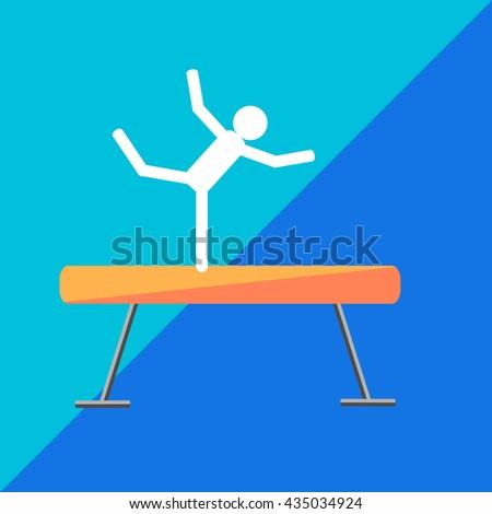 gymnastic balance beam on twotone background