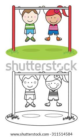 Gymnastic kids - stock vector