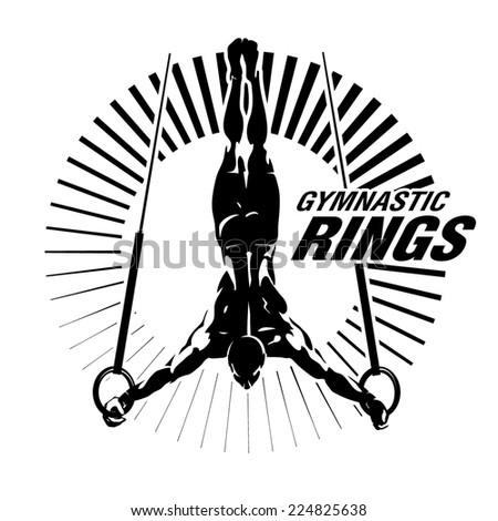 Gymnastic rings. Vector illustration in the engraving style - stock vector