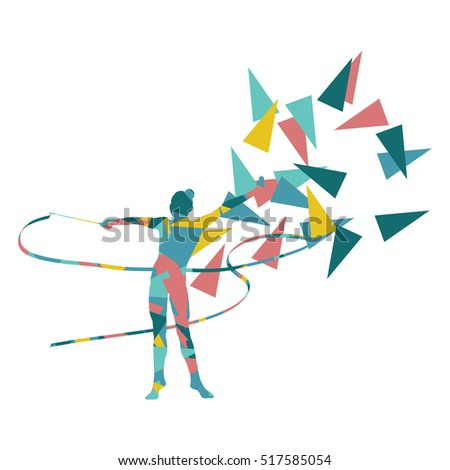 Gymnastic woman with ribbon vector background illustration concept made of polygonal fragments isolated on white