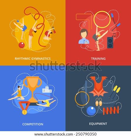 Gymnastics design concept set with rhythmic training competition equipment flat icons isolated vector illustration - stock vector