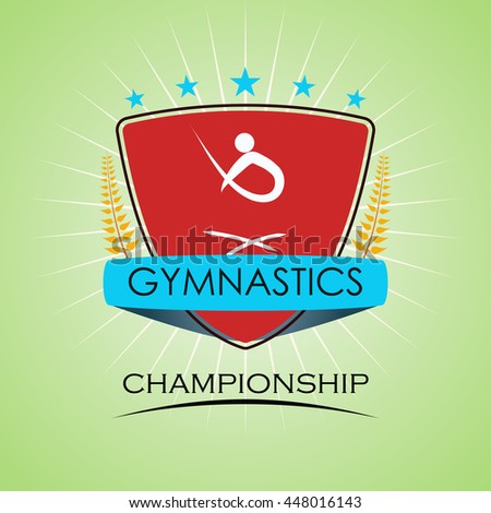 Gymnastics - Winner Golden Laurel Seal with Golden Ribbon - Layered EPS 10 Vector
