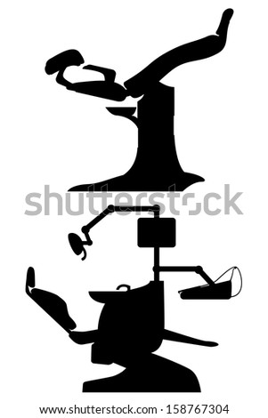 gynecological and dental chair black vector illustration isolated on white background - stock vector