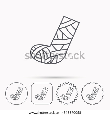 Gypsum or cast foot icon. Broken leg sign. Human recovery medicine symbol. Linear circle, square and star buttons with icons. - stock vector