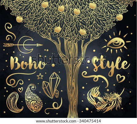 Gypsy Love: Set of Ornamental Boho Style Elements. Vector illustration. Gold tattoo template. Trendy hand drawn tribal symbol collection. Hippie design gold elements over black. Apple tree. - stock vector