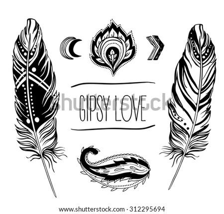 Gypsy Love: Set of Ornamental Boho Style Elements. Vector illustration. Tattoo template. Trendy hand drawn tribal symbol collection. Hippie design elements. - stock vector