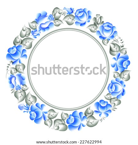 Gzhel style circle floral frame. Vector illustration. - stock vector