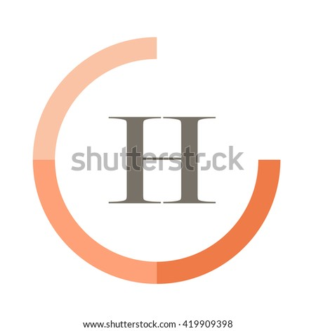 H black letter , modern type of font , tree orange colors , simply alphabet like design identity