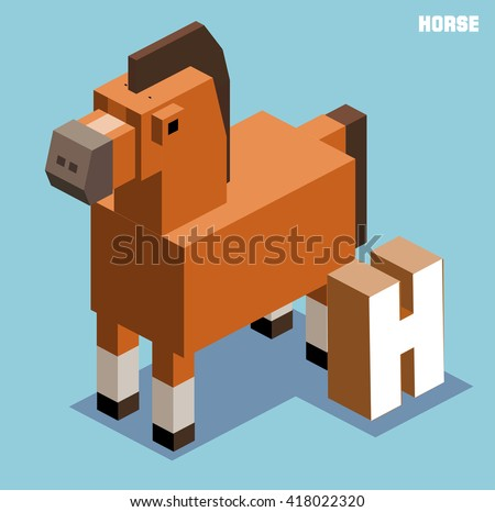 H for horse, Animal Alphabet collection. vector illustration - stock vector