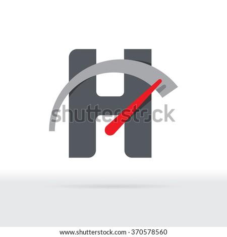 H Letter Car Speedometer, H Letter Meter Logo - stock vector