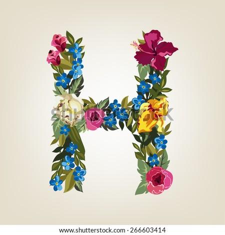 H letter. Flower capital alphabet. Colorful font. Uppercase.  Vector illustration. - stock vector