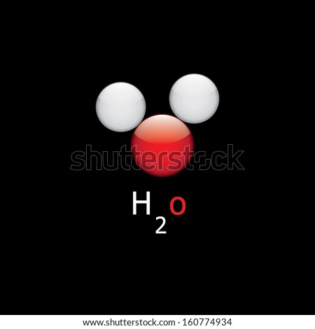 H2O molecule, chemical structure - stock vector