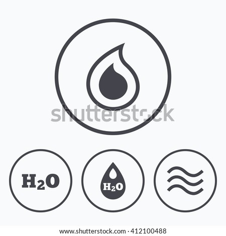 H2O Water drop icons. Tear or Oil drop symbols. Icons in circles. - stock vector