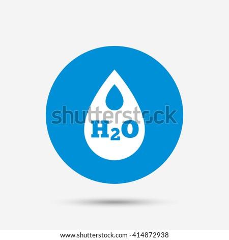 H2O Water drop sign icon. Tear symbol. Blue circle button with icon. Vector - stock vector