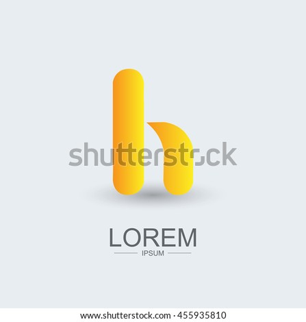 H round shape logo icon yellow gradient, alphabet letter - stock vector