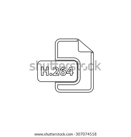 H264 video file extension. Outline black simple vector pictogram - stock vector
