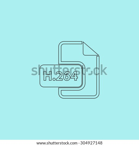 H264 video file extension. Simple outline flat vector icon isolated on blue background - stock vector