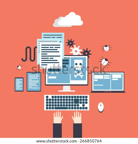 Hacker activity. Hands on keyboard. Computer crime, e-mail spam, viruses hacking. Process coding and html programming. Flat design vector illustration. - stock vector